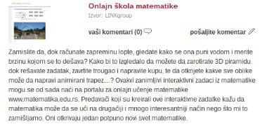 Tekst o OKmatematici na portalu Ogledalce